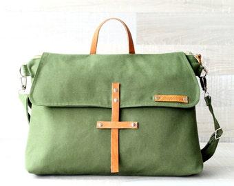 """Unisex Canvas Laptop Bag, Green Men Bag, EXPRESS SHIPPING, Macbook 13"""" Pocket, Olive Messenger Bag, Men, Women, Genuine Leather Crossbody"""
