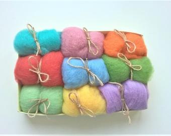Kit for Wool for Felting in Easter Pastel Colors - Wool Roving Supply - Needle Felting Wool - Wet Felting - Spinning Wool - Wool Felt Balls