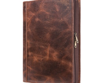 Personalized Crazy Horse Leather Padfolio - Multi-function Business Case - Fit For Most Tablet Models