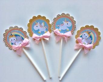 Unicorn Cupcake toppers/ Unicorn baby shower/ Unicorn/ cupcake Toppers
