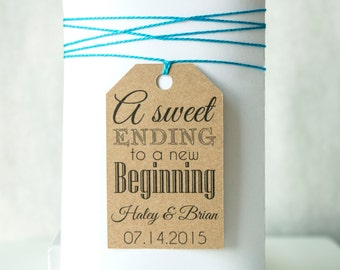 A Sweet Ending to a New Beginning Wedding Favor Tag, Bridal Shower Tag, Engagement Party Tag, Candy Buffet Tag, Candy Favor Tag