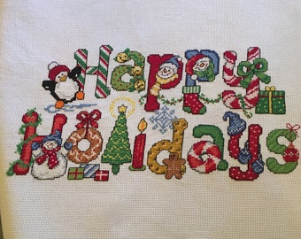 Happy Holidays completed cross stitch