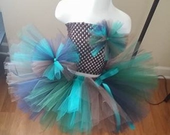 Peacock Tutu with Crochet Top and Tulle Bow