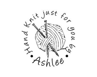 yarn and needles Custom Hand Knit Just for You Personalized custom Rubber Stamp