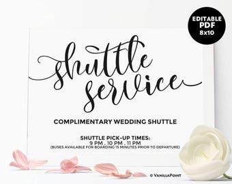 Shuttle Service Sign, Wedding Shuttle Sign, Printable Wedding Day Signs Wedding Receptions Ideas Rustic Wedding Reception Signs Template PDF
