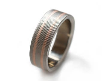14k Rose Gold Inlaid Into Titanium Ring - Womens Wedding Bands, Promise Rings For Her, Wedding Rings For Women Or Men, Rose Gold Rings
