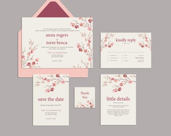 Cherry Blossom Wedding Invitation | Oriental Invite | Oriental Invitation | Sakura Invitation | Oriental Wedding Set | Spring Wedding
