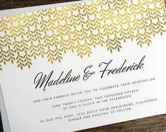 Printable Wedding Invitations - Gold Pattern - Glamorous Gold - Glam Wedding Invitation - Instant Download - Gold Effect - PDF