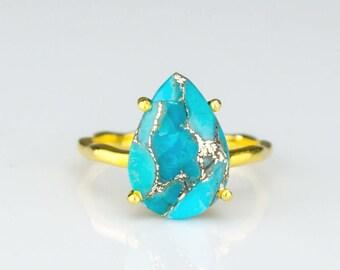 Copper Turquoise Ring, December Birthstone Ring, Gemstone Ring, Stacking Ring, Gold Ring, prong set ring, Tear drop Ring, statement ring