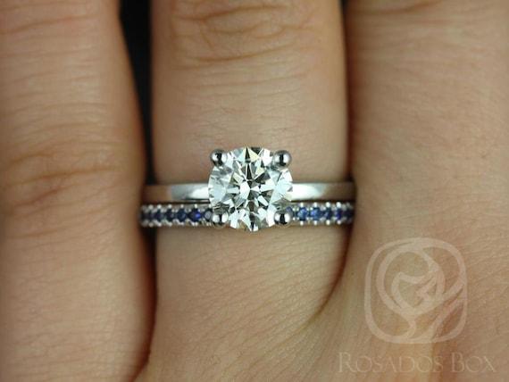 Rosados Box Ella 7mm & Kierra 14kt White Gold Round F1- Moissanite and Blue Sapphires Wedding Set