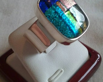 925 Sterling Silver large Ring with Dichroic glass