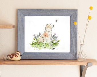 Australian Shepherd Art, Red Merle Aussie Print, Puppy Nursery Art, Watercolor Print,  Children's Art Kids Dog Art, Baby Room Decor Dog Gift