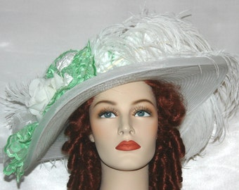 Edwardian Tea Hat, Kentucky Derby Hat, Ascot Hat, Titanic Hat, Somewhere Time Hat, Downton Abbey Hat - Green Apple Crystal Fairy