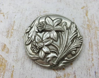 Seagull Pewter Brooch Daffodils Spring time 1987 Canadian made