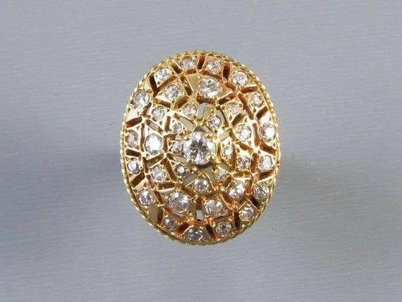 MASSIVE 14k gold 1.15 carat diamond statement cocktail dinner dome bombe cluster ring, size 8