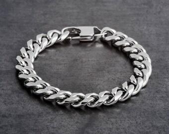 "Silver chain Bracelet, silver link bracelet, men's Silver Bracelet, Men's Chain Bracelet, womens chain bracelet, 10 m""m"