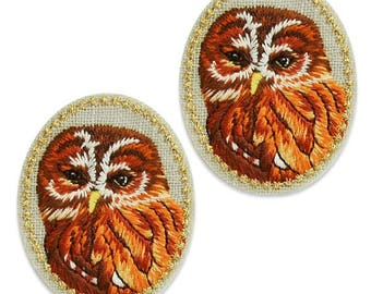 Expo Ollie Owl Embroidered Iron-On Patch Applique 2 Pack