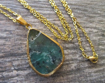 """Chrysoprase pendant 24k gold electroplated edges and bail large unique teardrop necklace pendant 1.5"""" blue green, black, red CHRY-09"""