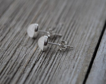 Rainbow Moonstone Earrings / Studs - Set in Sterling Silver  Bezel - High Quality Flashy Moonstone - 6 mm Natural Gemstone