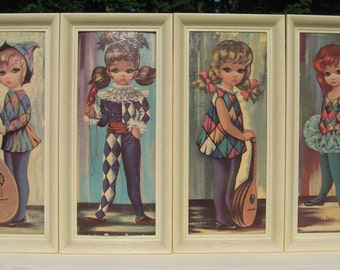 Vintage Set Of Four Lithography By Eden Plastic Frame