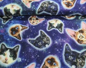 Cotton cat/fabrics 100% cotton royal blue cat's head