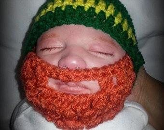 Crocheted Baby  Beard Hat,  Irish/San Patrick colors.