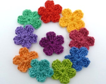 Crochet applique, crochet flowers, 10 small applique flowers, cardmaking, scrapbooking, appliques, handmade, sew on patches embellishments