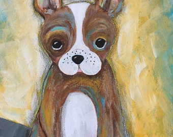 Puppy Painting, Kid's Room Decor, Frenchie Painting on 8x10 Canvas, Girl's Room Decor, Boy's Room Decor, Dog Painting, Original Painting