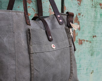 MILITARY Bag Tote Repurposed, recycled military canvas, old military sack