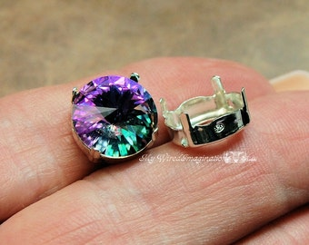 SOLID Sterling Silver Setting, 925 Setting, for 12mm Round Rivoli 1122 Crystals, Stamped Sterling, NOT Plated, Rivoli Crystal  Gem Setting