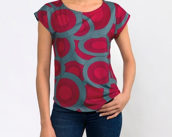 Red And Teal Women's Geometric Print Graphic Tee
