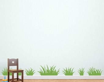 Grass Wall Decal - Set of 14 Grass Patches - TWO sets - Children Wall Decal - Coordinating decal set for Tree Decal