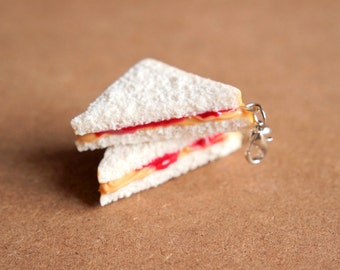 Peanut Butter and Jelly Charm - Miniature Food Jewelry, Polymer Clay Food. Peanut Butter Jelly Sandwich. Fake Food Jewelry.