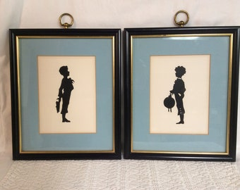 Pair Vintage Silhouette Pictures E-284
