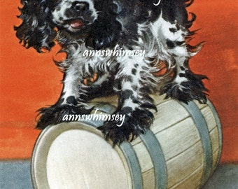 "Butch the Dog Art Print, ""Over a Barrell"" Restored Antique Art,, ""America's Dog"" 1940s #336"