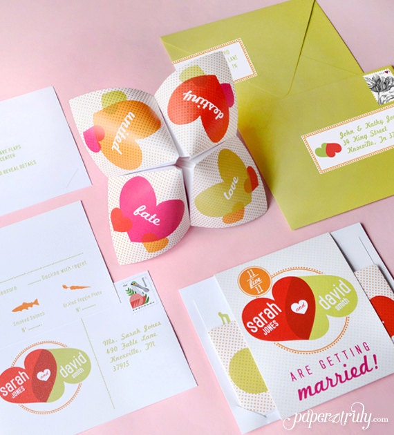 Cootie Catcher Invitation Suite SAMPLE ONLY Price is not