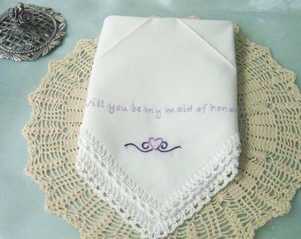 Maid of Honor Handkerchief, Maid of Honor Hankie, Maid of Honor Hanky, Bridal Party Gift, Hand Crochet, Hand Embroidered, Ready to ship