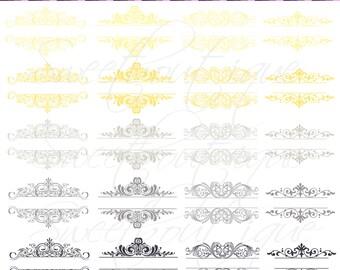 Gray &Yellow wedding Vintage Calligraphy Clip Art Clipart DIYInvitation Designs Scrapbook Embellishment Text Dividers Digital Frame 0051