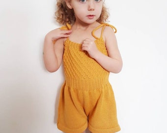 Girls romper, girls playsuit, toddler romper, girls  short dungarees, girls vintage style romper, kids vintage style, made to order
