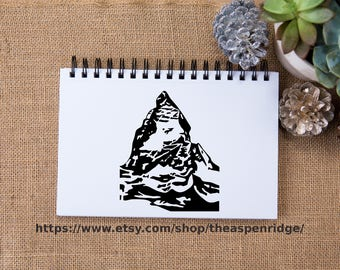 Matterhorn Swiss Alps - Switzerland and Italy border - mountain clipart, matterhorn clip art, illustration for personal and commercial use