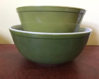 Verde Green Pyrex Mixing Bowls