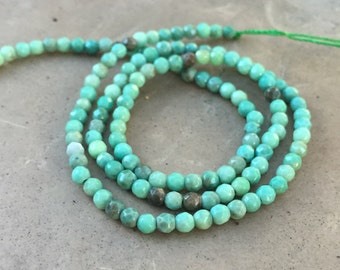 Green Moss Opal Round Beads, 3mm, faceted, 16 inch strand