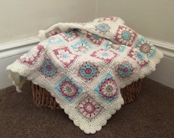 Crochet baby blanket, granny squares with a scalloped edge, handmade pink, blue and cream design