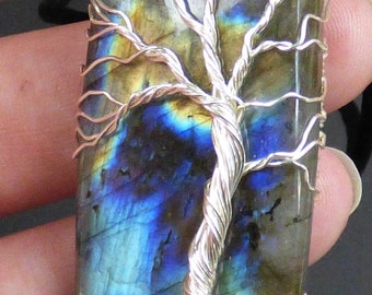 Argentium Silver and Labradorite Tree of Life Pendant