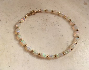 Opal Bracelet - Ethiopian Opal Jewelry - October Birthstone - Gemstone - Dainty - Gold Jewellery