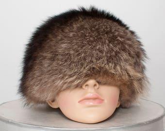 Vintage Russian Hat, Fur Toque Hat, Pill Box Hat, Fur Hat, Winter Hat