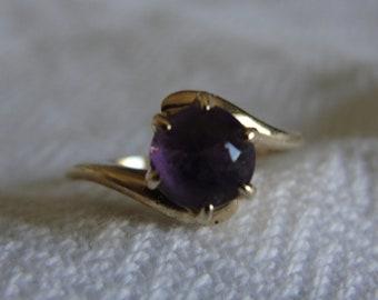 Vintage  14k rose gold and amethyst ring size 5