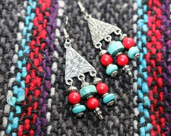 Turquoise and Red Southwestern Earrings/Boho Earrings/Beach Earrings/Third Eye Chakra Jewelry/Girlfriend Gift/Gift for Daughter/Gift for Her