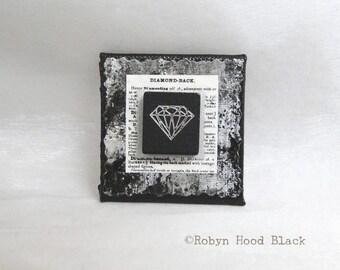 Black Scrabble Tile Magnet Upcycled Diamond Tile