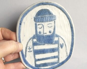 Beardy fisherman ceramic wall plaque